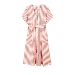 Mango | Striped Red and White Button Front Dress
